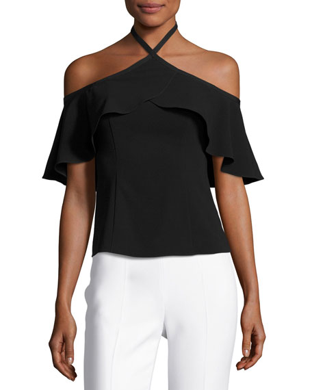 Ruby Crepe Cold-Shoulder Top, Onyx