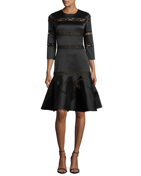 3/4-Sleeve Tiered Lace Fit-and-Flare Dress, Onyx