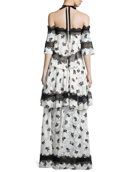 Tiered Lace-Trim Burnout Maxi Dress, Ivory