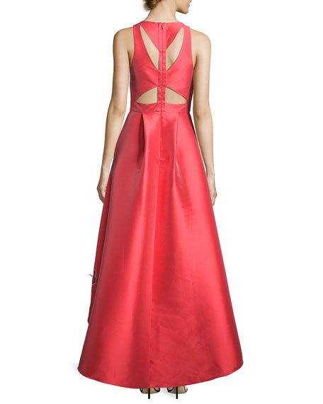 Sleeveless Floral Cutout High-Low Gown, Coral