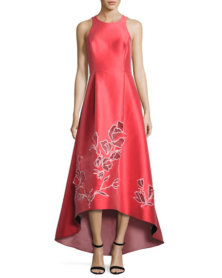 Sachin & Babi Sleeveless Floral Cutout High-Low Gown,