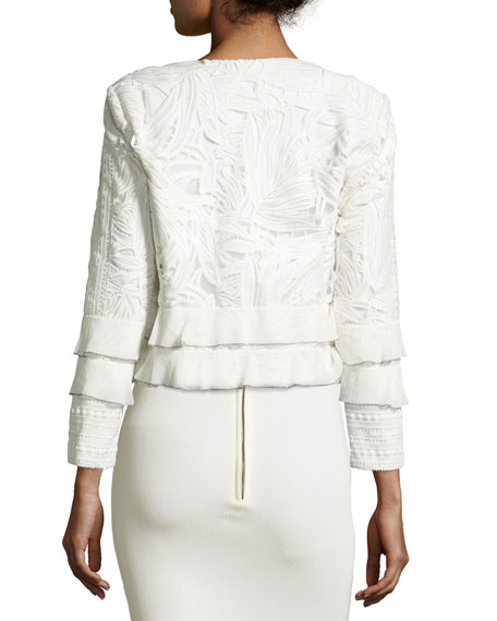 Boxy Tiered Lace Open-Front Jacket, Ivory