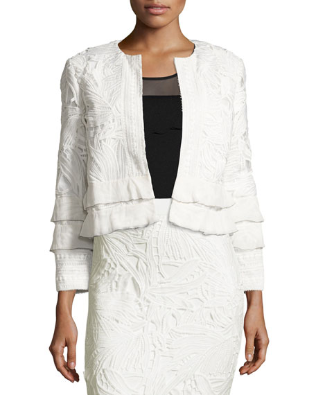 Sachin & Babi Boxy Tiered Lace Open-Front Jacket,