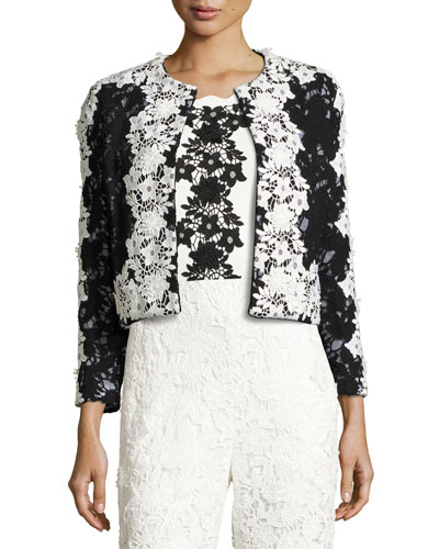 Two-Tone Floral Lace Open-Front Jacket, Onyx Online Cheap