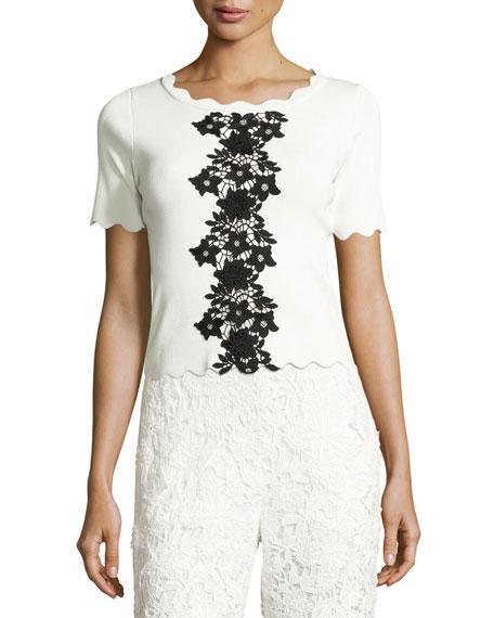 Sachin & Babi Short-Sleeve Scalloped Jersey Top, Ivory