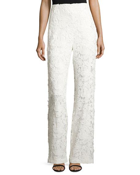 Sachin & Babi Floral Lace Wide-Leg Pants, Ivory