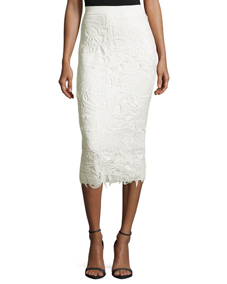 Lace-Trim Ponte Pencil Skirt, Ivory
