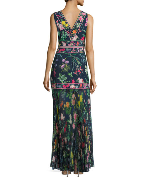 Sleeveless Floral Chiffon Gown, Blue
