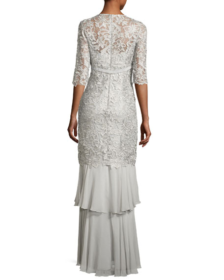 3/4-Sleeve Lace Tiered Column Gown, Gray
