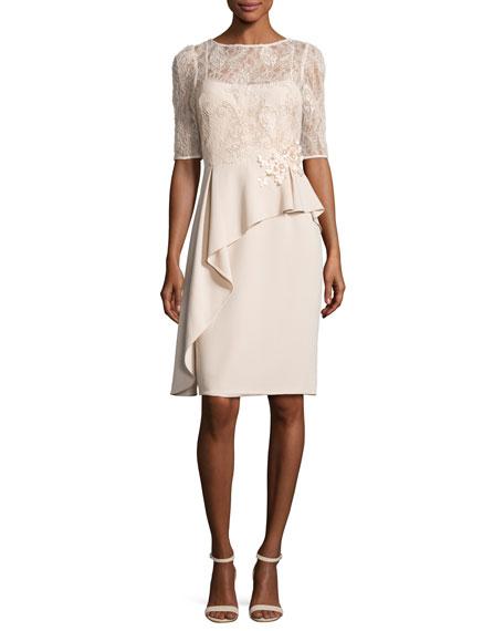 Rickie Freeman for Teri Jon Floral Embellished 3/4-Sleeve