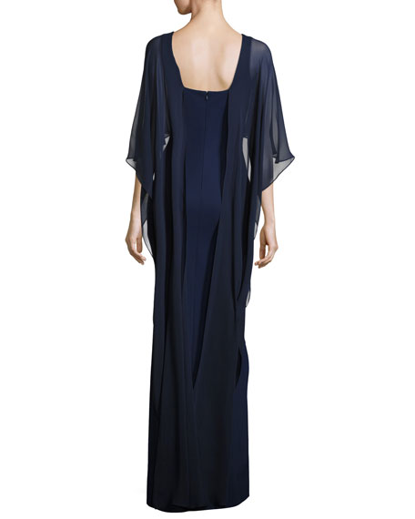 Stretch Crepe Column Gown, Blue