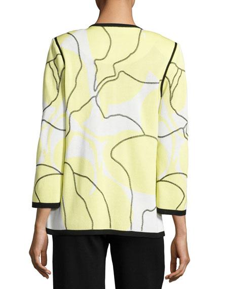 3/4-Sleeve Wild Abstract-Print Open Jacket, Daiquiri Green, Plus Size