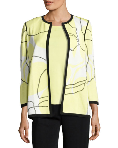 Misook 3/4-Sleeve Wild Abstract-Print Open Jacket, Daiquiri
