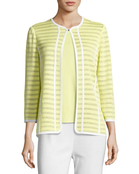 Misook Striped Ribbon-Trim Textured Jacket, Daiquiri Green, Plus