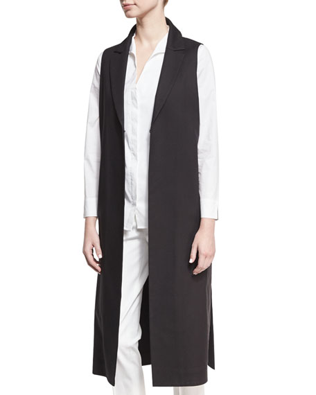 Misook Stretch Long Vest, Black, Plus Size