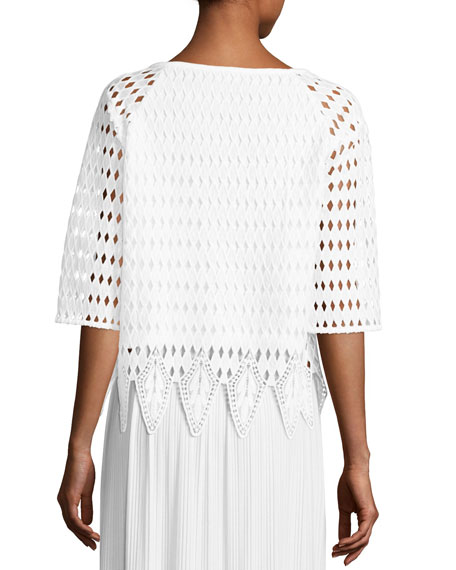 Woven Lace Top, White, Petite