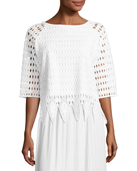 Joan Vass Woven Lace Top, White, Petite and