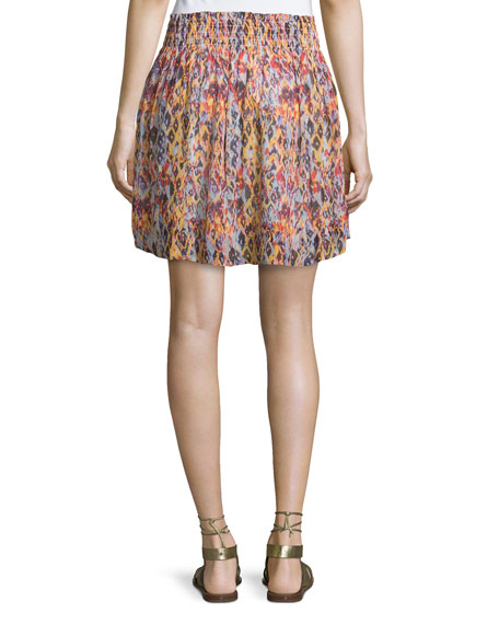 IRO ORCHID PRINTED SMOCKED VOILE SKIRT, ORANGE