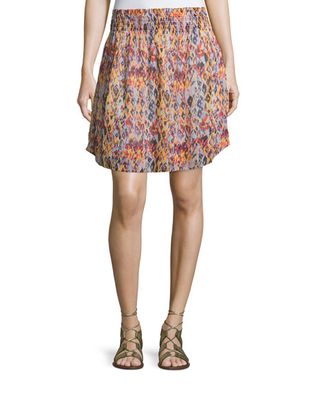 Iro Orchid Printed Smocked Voile Skirt