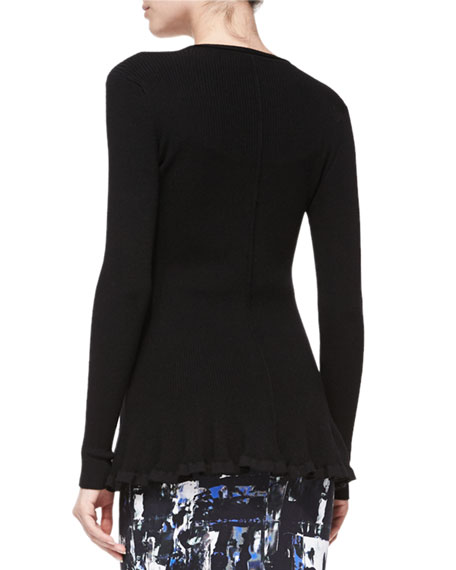 Ribbed Zip-Front Peplum Jacket
