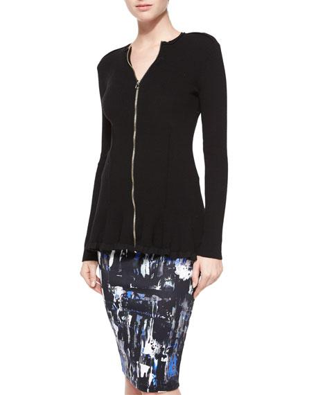 McQ Alexander McQueen Ribbed Zip-Front Peplum Jacket