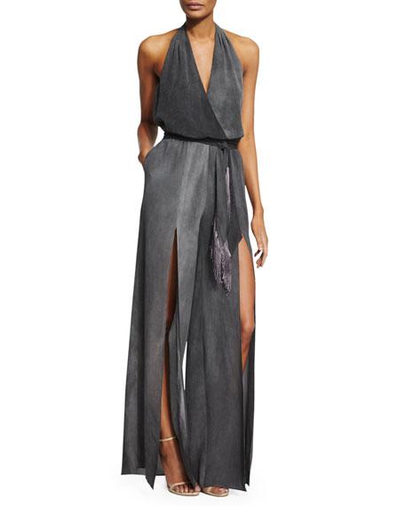 Tamara Mellon Silk Halter Jumpsuit w/ Fringe Belt, Charcoal