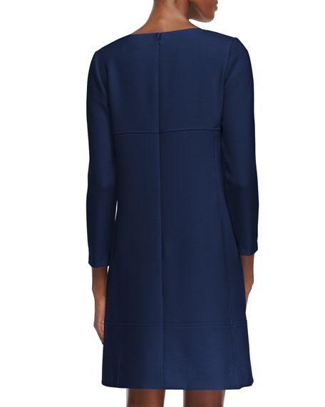 Long-Sleeve Slit-Front Dress, Navy