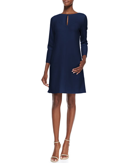 Lela Rose Long-Sleeve Slit-Front Dress, Navy