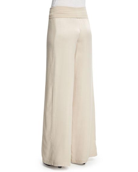 Wide-Leg Yoga Pants, Almond