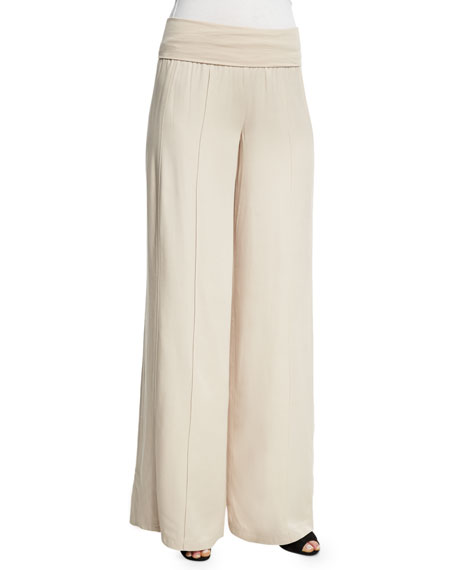 ATM Anthony Thomas Melillo Wide-Leg Yoga Pants, Almond