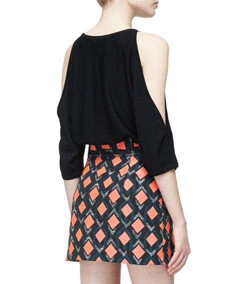 Open-Shoulder Round-Neck Pullover, Black