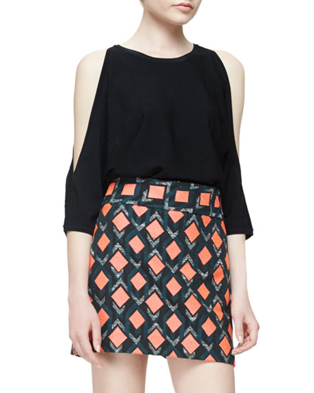 Milly Open-Shoulder Round-Neck Pullover, Black