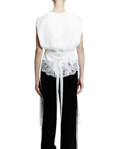 Open-Back Lace-Trimmed Silk Vest, White