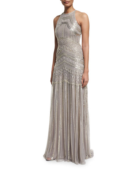 Sleeveless Metallic-Embellished Gown, Gray/Silver