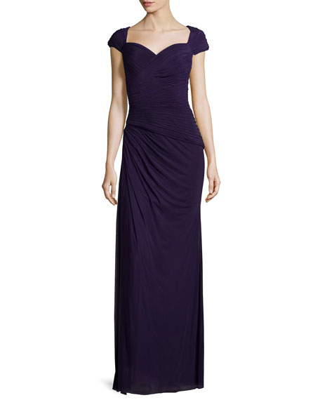 La Femme Cap-Sleeve Ruched Sweetheart Gown, Plum