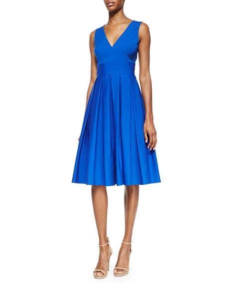 Michael Kors Collection V-Neck Pleated Poplin Dress