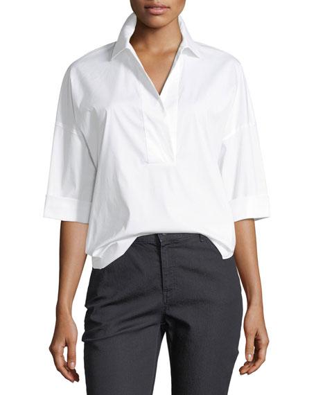 Baldwin 3/4-Sleeve Cotton-Stretch Blouse