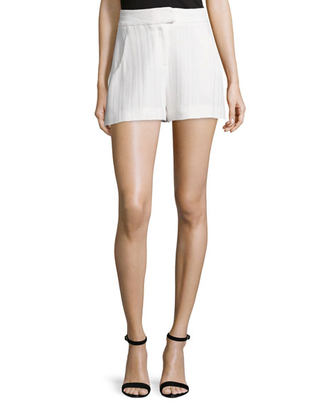 Veronica Beard Tropicana High-Waist Tailored Shorts, White