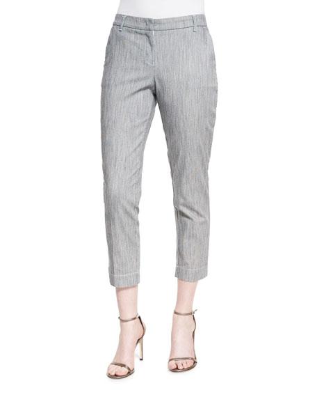 Armani Collezioni Skinny-Striped Cropped Jeans