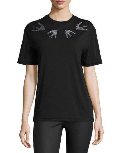 Bird-Embellished Classic T-Shirt