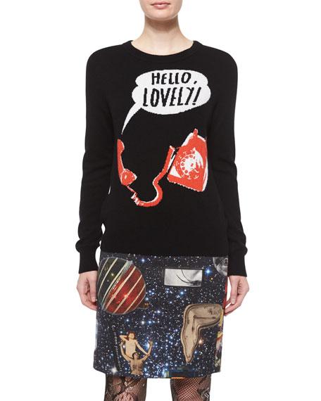 Libertine Hello Lovely Crewneck Cashmere Sweater, Black