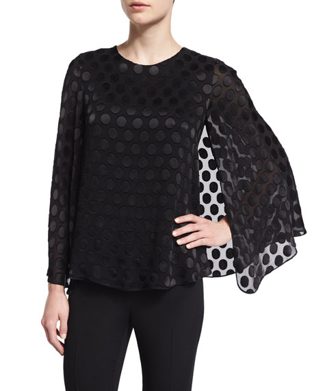 Polka-Dot Cape Blouse, Black