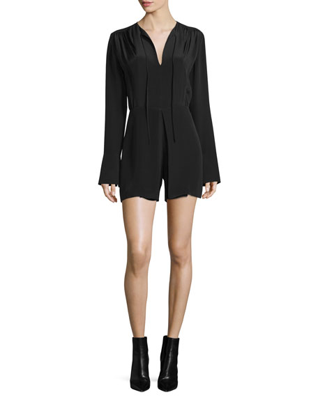 Derek Lam Long-Sleeve Split-Neck Romper, Black