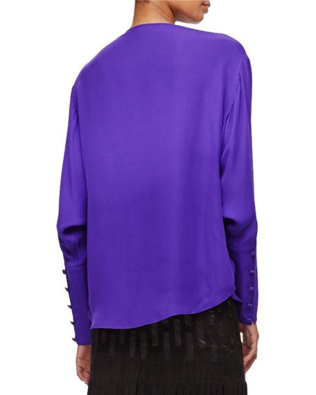 Long-Sleeve Silk Keyhole Blouse