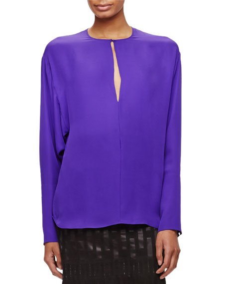 Tamara Mellon Long-Sleeve Silk Keyhole Blouse