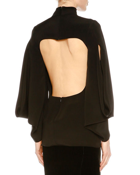 Kimono-Sleeve Open-Back Top, Black