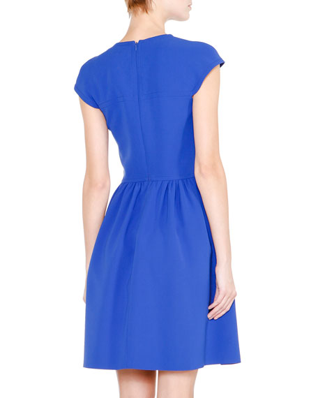 Cap-Sleeve Fit-&-Flare Dress, Egyptian Blue
