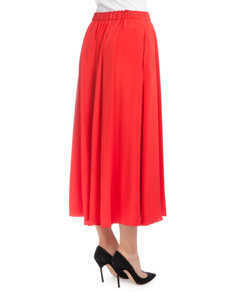 Elastic-Waist Pleated Culottes