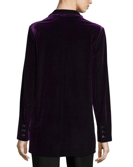 Joan Vass Plus Size Velvet Button-Front Jacket
