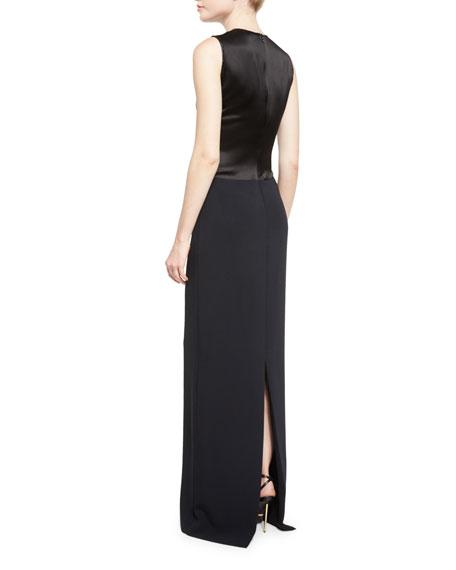 Sleeveless Metallic-Inset Gown, Black